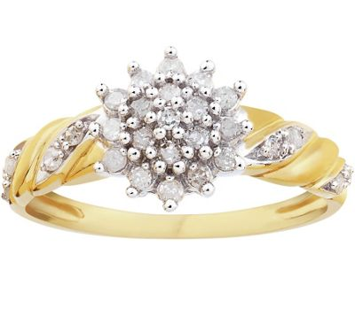 buy 9ct gold 0 25ct tw cluster twist ring at argos