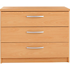 more details on New Hallingford 3 Drawer Wide Bedside Chest - Beech Effect.