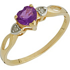 more details on 9ct Gold Amethyst and Diamond Heart Ring.