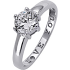 more details on 9ct White Gold Cubic Zirconia 'I Love You' Solitaire Ring.