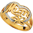 more details on 9ct Gold Plated Silver Mum Heart Butterfly Ring.