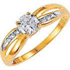 more details on 9ct Gold Cubic Zirconia Solitaire Crossover Shoulder Ring.