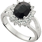 more details on Sterling Silver Created Black Sapphire & CZ Cluster Ring.