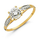 more details on 9ct Gold Solitaire Cubic Zirconia Shoulder Ring. .
