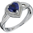more details on Platinum Plated Tanzanite Coloured Cubic Zirconia Heart Ring
