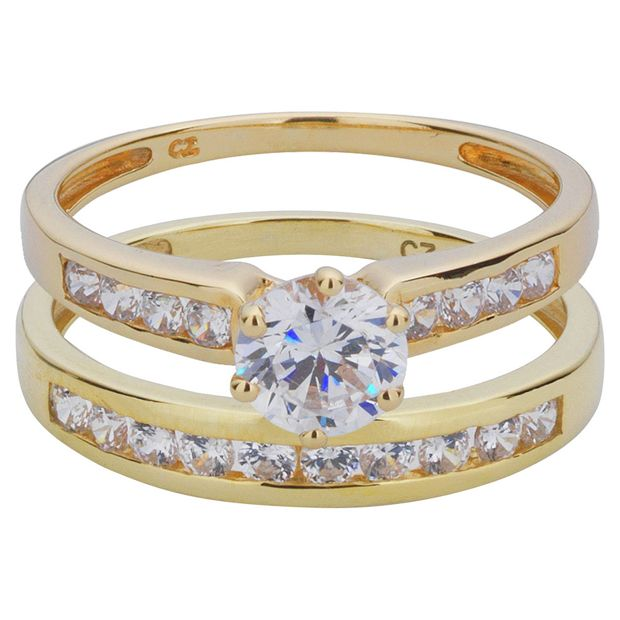 Buy 9ct Gold 2 Piece Cubic Zirconia Bridal Ring Set At