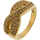 more details on 18ct Gold Plated Silver Champagne CZ Crossover Ring.