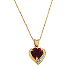 more details on 9ct Gold Created Ruby and Diamond Accent Heart Pendant.
