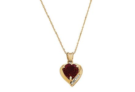Cut out image of a 9ct gold, ruby and diamond accent heart pendant.