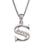 more details on Sterling Silver Cubic Zirconia Initial Pendant - Letter S.