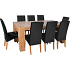 more details on Heart of House Alston Oak Dining Table and 8 Black Chairs.