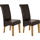 more details on Pair of Chocolate Leather Effect Scrollback Chairs.