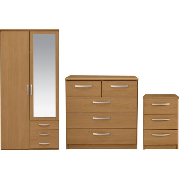 Buy collection new hallingford 3 pc 2 dr wardrobe package for White bedroom furniture argos