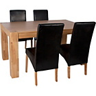 more details on Heart of House Alston Oak Dining Table and 4 Black Chairs.