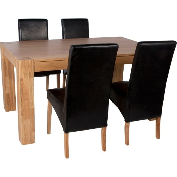 Buy heart of house alston dining table and 4 chairs oak for Dining room tables homebase