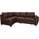 more details on Fernando Leather Left Hand Sofa Bed Corner Group - Chocolate