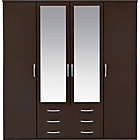 more details on New Hallingford 4 Dr 3 Drw Mirrored Wardrobe- Wenge Effect.
