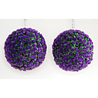 more details on Artificial Purple Rose Topiary Grass Balls - Pack of 2.