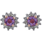 more details on 18ct Rose Gold Plated Silver Amethyst & Diamond Earrings.