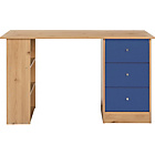 more details on New Malibu 3 Drawer Desk - Blue on Pine.