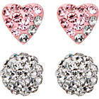 more details on Sterling Silver Crystal Heart & Glitterball Studs - Set of 2