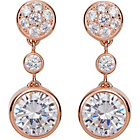 more details on 9ct Rose Gold Plated Sterling Silver Round CZ Drop Earrings.