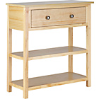 more details on Rustic Wooden 1 Drawer 2 Shelf Console Table - Solid Pine.