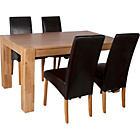 more details on Heart of House Alston Oak Dining Table & 4 Chocolate Chairs.