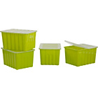 more details on ColourMatch 28L Apple Green Plastic Storage Box - Set of 4.