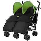 more details on Obaby Apollo Twin Stroller - Lime with Black Footmuffs.