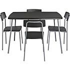 more details on Carmen Kitchen Dining Table and 4 Black Chairs.