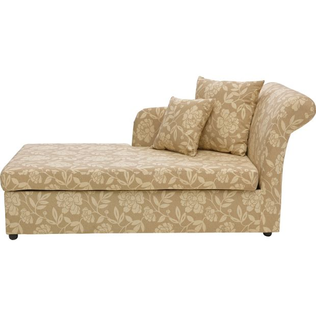 Buy Home Floral Fabric Chaise Longue Sofa Bed Natural At