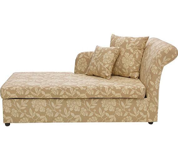 Buy floral 2 seater fabric chaise longue sofa bed for Chaise longue sofa bed argos
