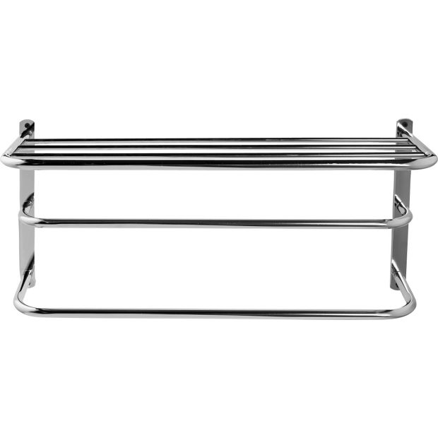 buy home metal towel rail with shelf at your. Black Bedroom Furniture Sets. Home Design Ideas