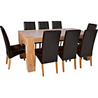 more details on Heart of House Alston Oak Dining Table & 8 Chocolate Chairs.