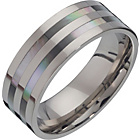 more details on Titanium and Mother of Pearl Band Ring.