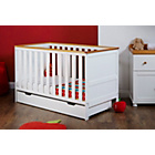 more details on Obaby Newark Cot Bed with Under Cot Drawer - White/Pine Trim