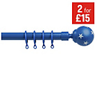 more details on HOME Extendable Curtain Pole Set - Blue Stars.