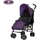 more details on Obaby Atlas Black/Grey Stroller - Purple and Purple Footmuff