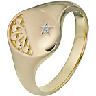 more details on 9ct Gold Plated Silver and Diamond Signet Ring.