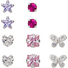 more details on Sterling Silver Crystal & CZ Shaped Stud Earrings - Set of 5