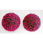 more details on Artificial Pink Rose Topiary Grass Balls - Pack of 2.