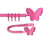 more details on HOME Butterfly Extendable Curtain Pole Set - Pink.