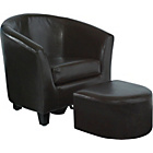 more details on Children's Leather Effect Tub Chair and Foot Rest - Brown.