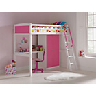 more details on Coloured High Sleeper Bed Frame with Desk/Robe - Pink.