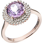 more details on 18ct Rose Gold Plated 2.00ct Look Amethyst and Diamond Ring.