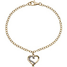 more details on 9ct Gold Plated Sterling Silver Diamond Heart Charm Bracelet