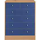 more details on New Malibu 4+2 Drawer Chest - Blue on Pine.