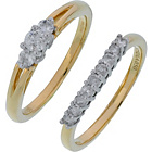 more details on Made for You 18ct Gold 0.50ct Diamond Trilogy Ring Set - U.