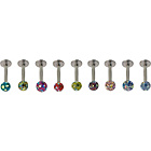 more details on Stainless Steel Glitter Ball Labrets - Set of 9.